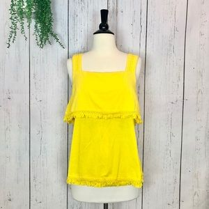 [J.Crew] XL Yellow Crochet and Fringe Tank Top